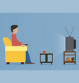 man watching old television on sofa vector image vector image