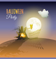 moon ghost owl tree and words halloween party vector image vector image