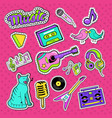 musical stickers badges and patches vector image vector image