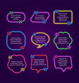 neon text bubble quote frames with commas text vector image