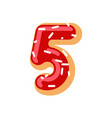number 5 donut doughnut font five sweet alphabet vector image