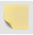 office yellow paper sticker with curled corner vector image vector image