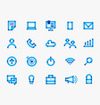 online blue communication round icon set vector image