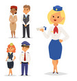 pilots and stewardess airline vector image