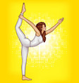 pop art girl does gymnastics yoga vector image vector image