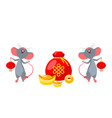 rats mice with golden ingot and coins happy new vector image vector image