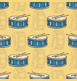 seamless pattern blue drum with drumsticks vector image vector image
