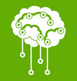 sensors on human brain icon green vector image