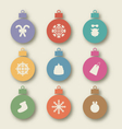 Set Christmas balls with traditional elements - vector image