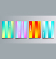 set colorful gradient cover with stripes vector image