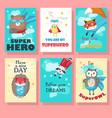 set of cards with cute superhero animals vector image vector image