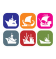 set of icons with images of different ships vector image