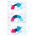 set stylish pie chart circle infographic vector image
