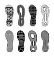 sport shoes footprints monochrome set vector image