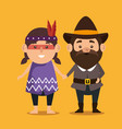 thanks giving card with pilgrim and native vector image