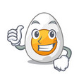 thumbs up character hard boiled egg ready to eat vector image vector image