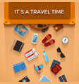 traveler baggage items falling from suitcase in vector image vector image