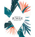 tropical realistic leaf and bird paradise vector image vector image