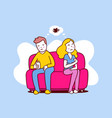 upset woman and man sitting on sofa turn away vector image