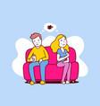 upset woman and man sitting on sofa turn away vector image vector image