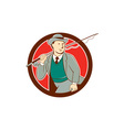 Vintage Fly Fisherman Bowler Hat Cartoon vector image vector image