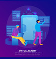virtual reality flat colored composition vector image vector image