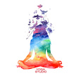 Watercolor woman silhouette of lotus yoga pose vector image vector image