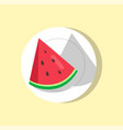 watermelon slice on plate vector image vector image