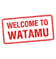 welcome to Watamu red grunge square stamp vector image vector image