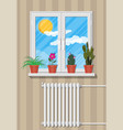 white window with flowers on wall vector image vector image