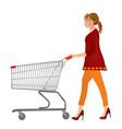woman pushing a shopping cart vector image