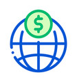 world payment coin transfer thin line icon vector image