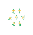 Yellow-green soccer team icons vector image vector image