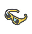 yellow luxury glasses icon cartoon vector image vector image