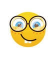 yellow smiling cartoon face wear glasses positive vector image