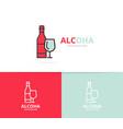 bottles of wine logo design template vector image