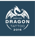 Dragon logo tattoo service in style the flat of vector image