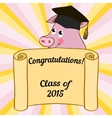 Greeting card with a character pig vector image