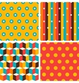 Seamless abstract retro geometric patterns set vector image