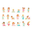 adorable smiling babies and toddlers in blue and vector image vector image