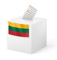 Ballot box with voting paper Lithuania vector image vector image