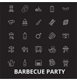 barbecue party editable line icons set on vector image