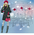 beautiful fashionable girl near the Parisian cafe vector image vector image