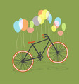 bicycle hanging on balloons vector image