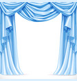 Big blue curtain draped with pelmet isolated on a vector image vector image
