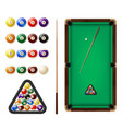 billiard balls and table 3d realistic vector image vector image