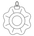 black and white line art xmas tree decoration vector image vector image