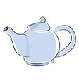blue teapot with yellow and orange detailes on vector image vector image