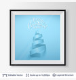 christmas tree shape of ribbon in a frame vector image vector image