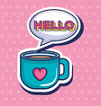 coffee cup with heart pop art style vector image